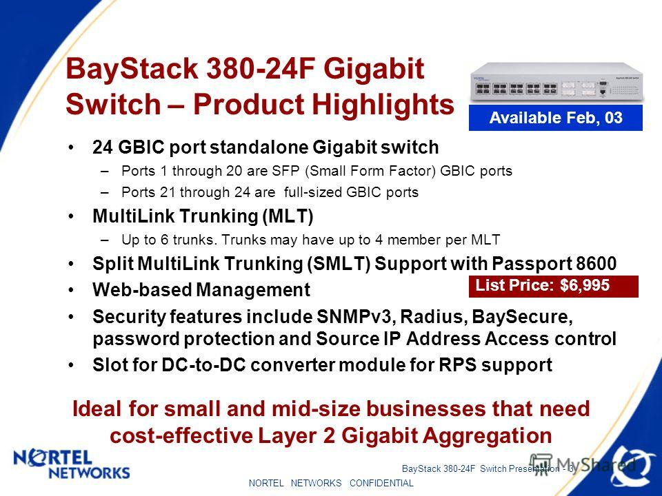 NORTEL NETWORKS CONFIDENTIAL BayStack 380-24F Switch Presentation - 3 BayStack 380-24F Gigabit Switch – Product Highlights 24 GBIC port standalone Gigabit switch –Ports 1 through 20 are SFP (Small Form Factor) GBIC ports –Ports 21 through 24 are full