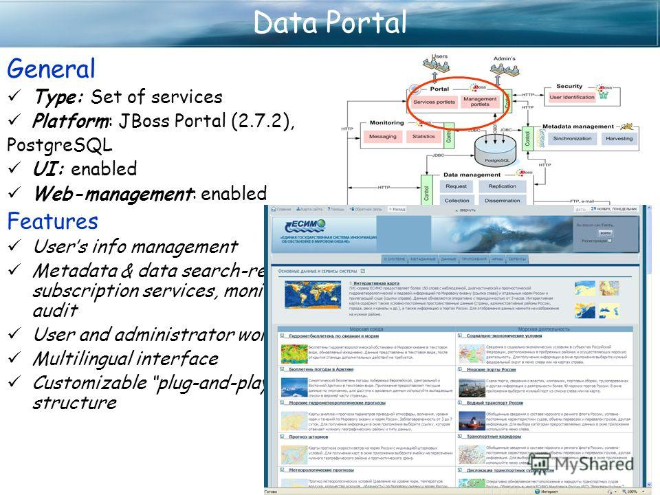 Data Portal General Type: Set of services Platform: JBoss Portal (2.7.2), PostgreSQL UI: enabled Web-management: enabled Features Users info management Metadata & data search-retrieve, subscription services, monitoring and audit User and administrato