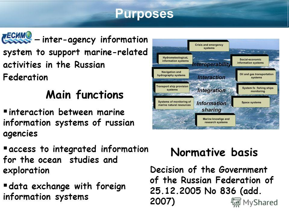 Purposes – inter-agency information system to support marine-related activities in the Russian Federation Main functions interaction between marine information systems of russian agencies access to integrated information for the ocean studies and exp
