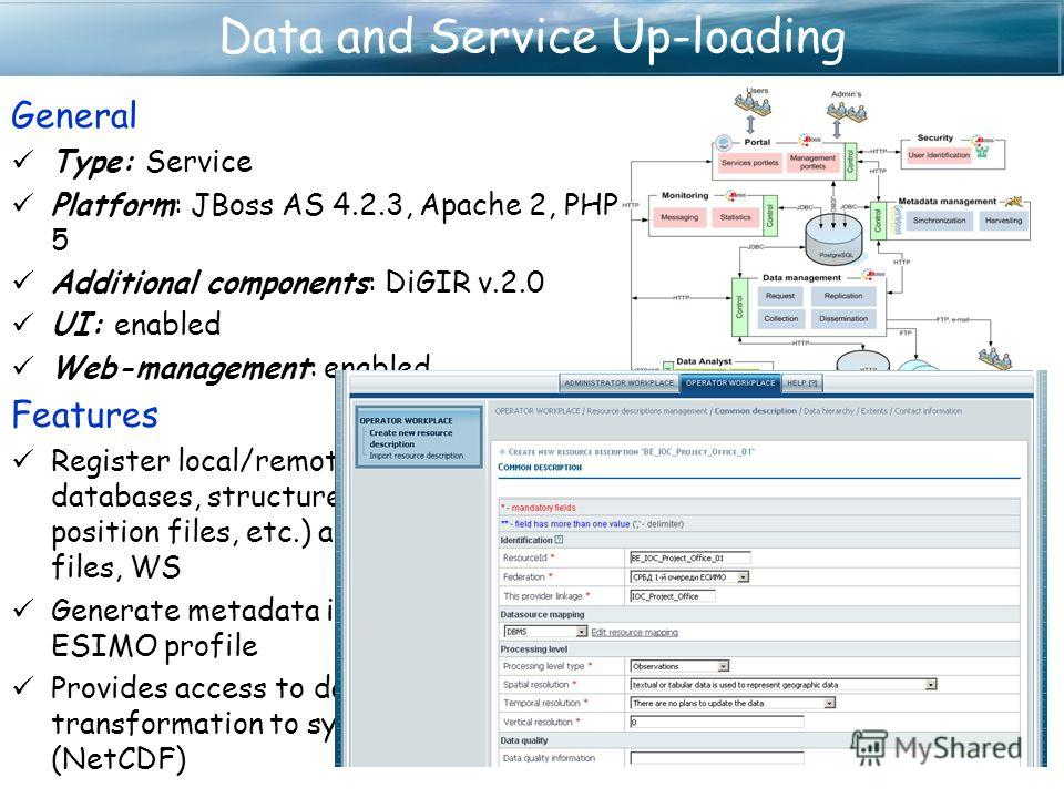 Data and Service Up-loading General Type: Service Platform: JBoss AS 4.2.3, Apache 2, PHP 5 Additional components: DiGIR v.2.0 UI: enabled Web-management: enabled Features Register local/remote data systems - SQL databases, structured (CSV, TSV, fixe