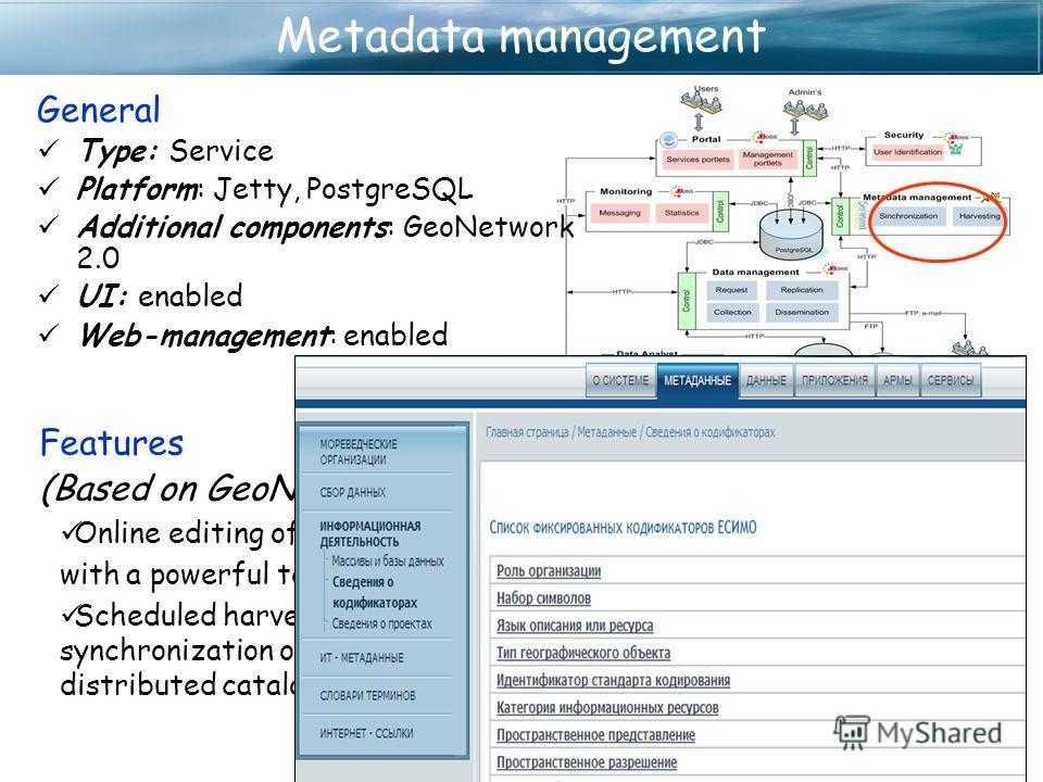 Metadata management Features (Based on GeoNetwork) Online editing of metadata with a powerful template system Scheduled harvesting and synchronization of metadata between distributed catalogs General Type: Service Platform: Jetty, PostgreSQL Addition