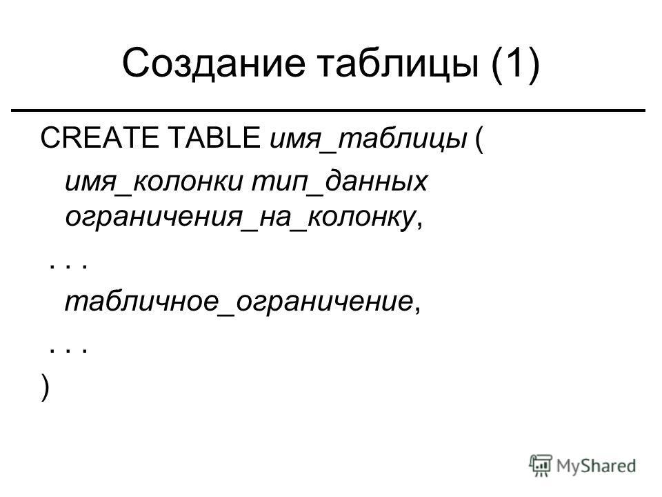 Создание таблицы (1) CREATE TABLE имя_таблицы ( имя_колонки тип_данных ограничения_на_колонку,... табличное_ограничение,... )