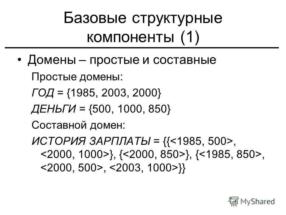 Базовые структурные компоненты (1) Домены – простые и составные Простые домены: ГОД = {1985, 2003, 2000} ДЕНЬГИ = {500, 1000, 850} Составной домен: ИСТОРИЯ ЗАРПЛАТЫ = {{, }, { }, {,, }}