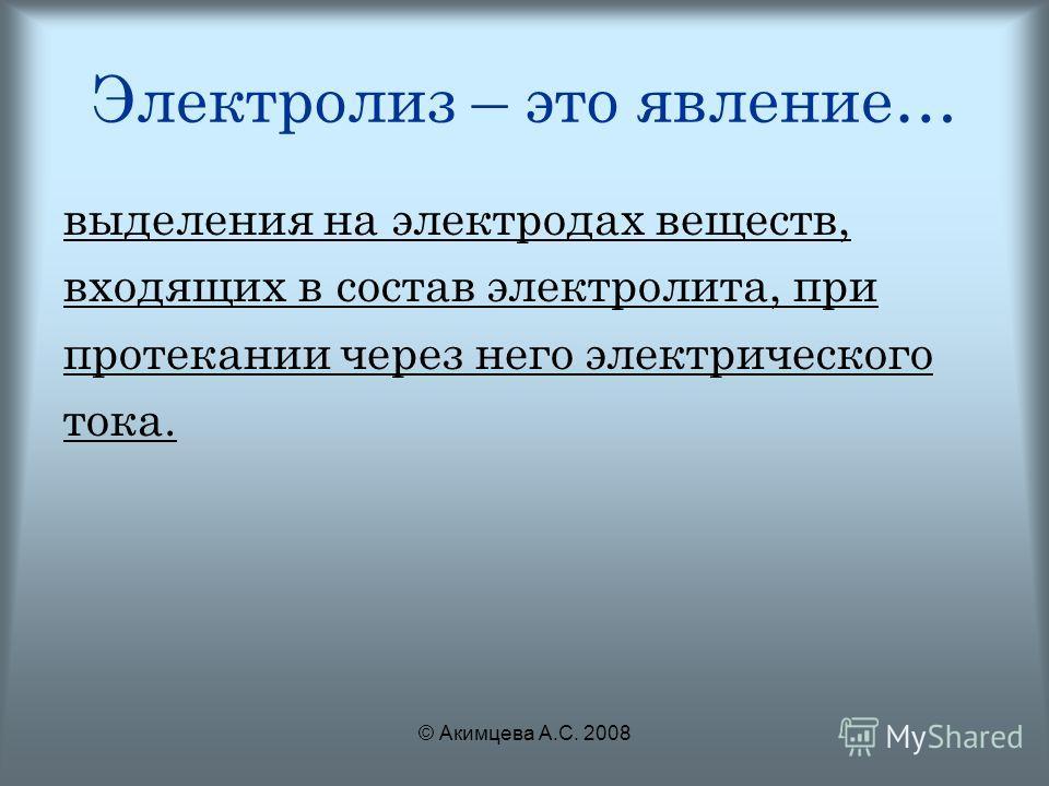 © Акимцева А.С. 2008 Электролиз – это явление… выделения на электродах веществ, входящих в состав электролита, при протекании через него электрического тока.