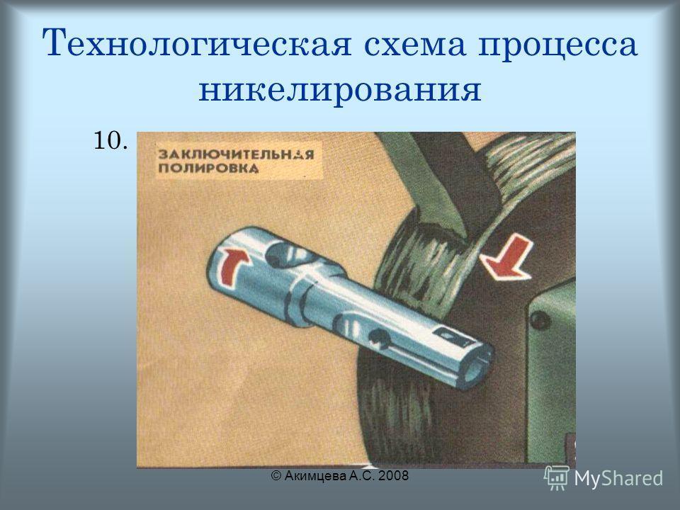 © Акимцева А.С. 2008 Технологическая схема процесса никелирования 10.