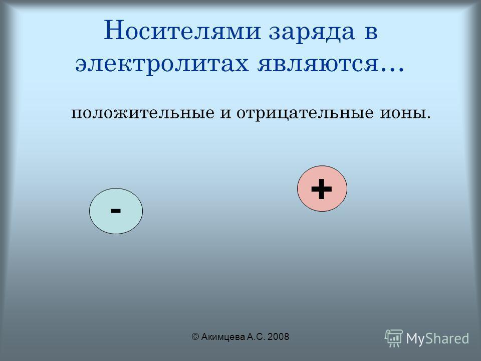 © Акимцева А.С. 2008 Носителями заряда в электролитах являются… положительные и отрицательные ионы. - +