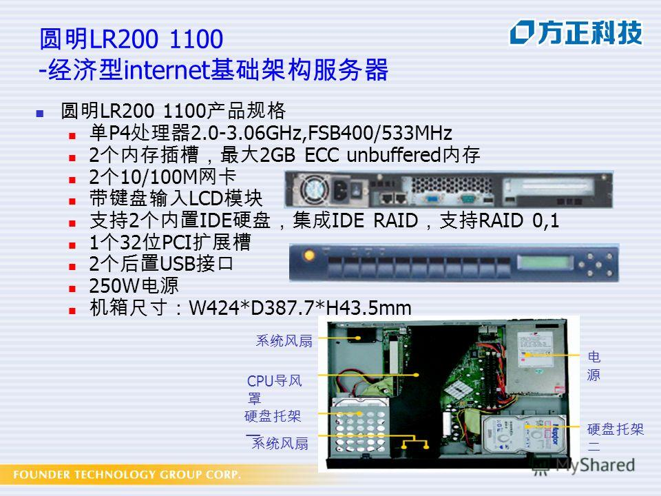 LR200 1100 - internet LR200 1100 P4 2.0-3.06GHz,FSB400/533MHz 2 2GB ECC unbuffered 2 10/100M LCD 2 IDE IDE RAID RAID 0,1 1 32 PCI 2 USB 250W W424*D387.7*H43.5mm CPU