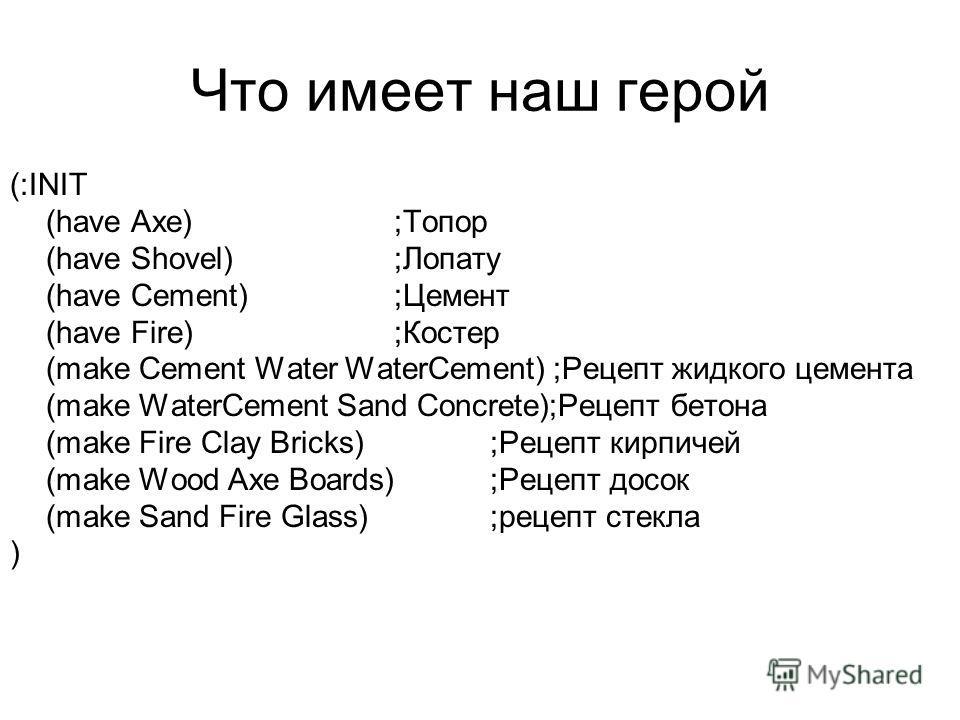 Что имеет наш герой (:INIT (have Axe) ;Топор (have Shovel);Лопату (have Cement);Цемент (have Fire);Костер (make Cement Water WaterCement) ;Рецепт жидкого цемента (make WaterCement Sand Concrete);Рецепт бетона (make Fire Clay Bricks);Рецепт кирпичей (