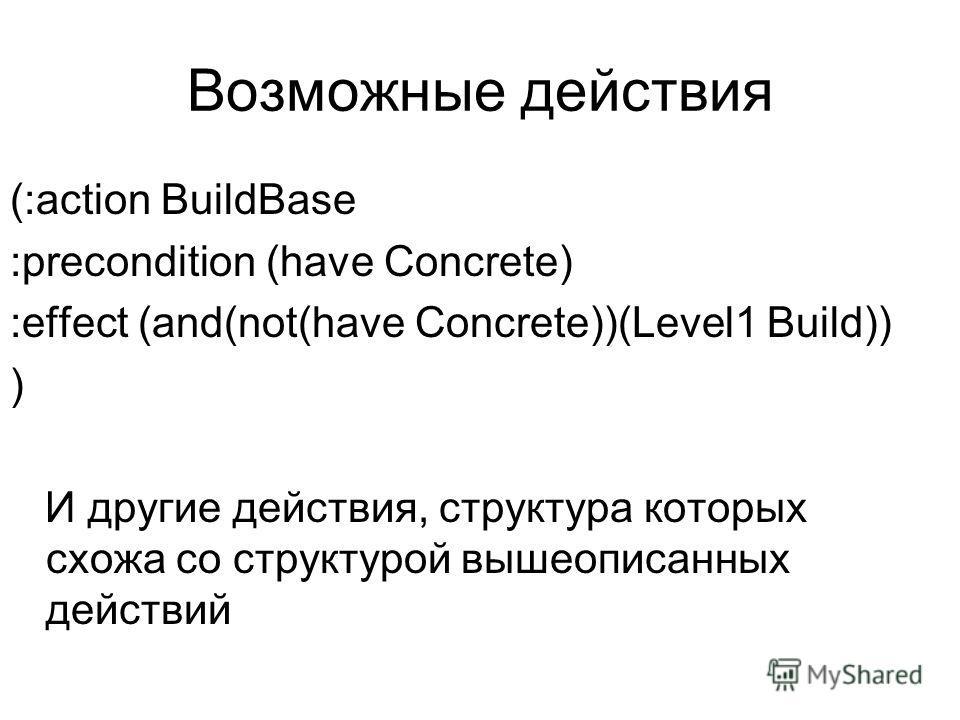Возможные действия (:action BuildBase :precondition (have Concrete) :effect (and(not(have Concrete))(Level1 Build)) ) И другие действия, структура которых схожа со структурой вышеописанных действий