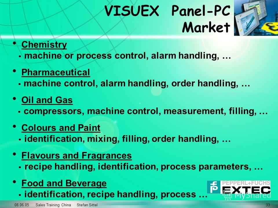 08.06.05 Sales Training China Stefan Sittel33 VISUEX Panel-PC Market Chemistry machine or process control, alarm handling, … Pharmaceutical machine control, alarm handling, order handling, … Oil and Gas compressors, machine control, measurement, fill
