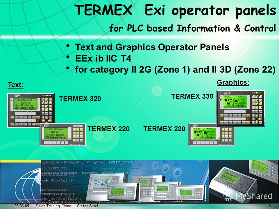 08.06.05 Sales Training China Stefan Sittel8 TERMEX Exi operator panels for PLC based Information & Control Text and Graphics Operator Panels EEx ib IIC T4 for category II 2G (Zone 1) and II 3D (Zone 22) TERMEX 220 TERMEX 320 TERMEX 230 TERMEX 330 Te