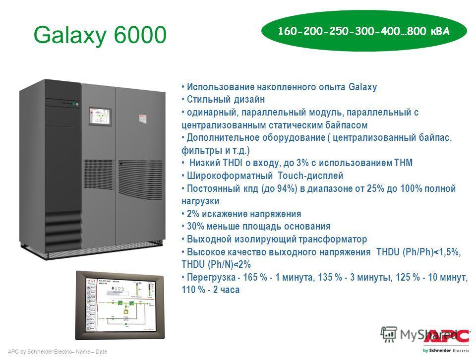 APC by Schneider Electric– Name – Date Galaxy 6000 160-200-250-300-400…800 кВА Использование накопленного опыта Galaxy Стильный дизайн одинарный, параллельный модуль, параллельный с централизованным статическим байпасом Дополнительное оборудование (