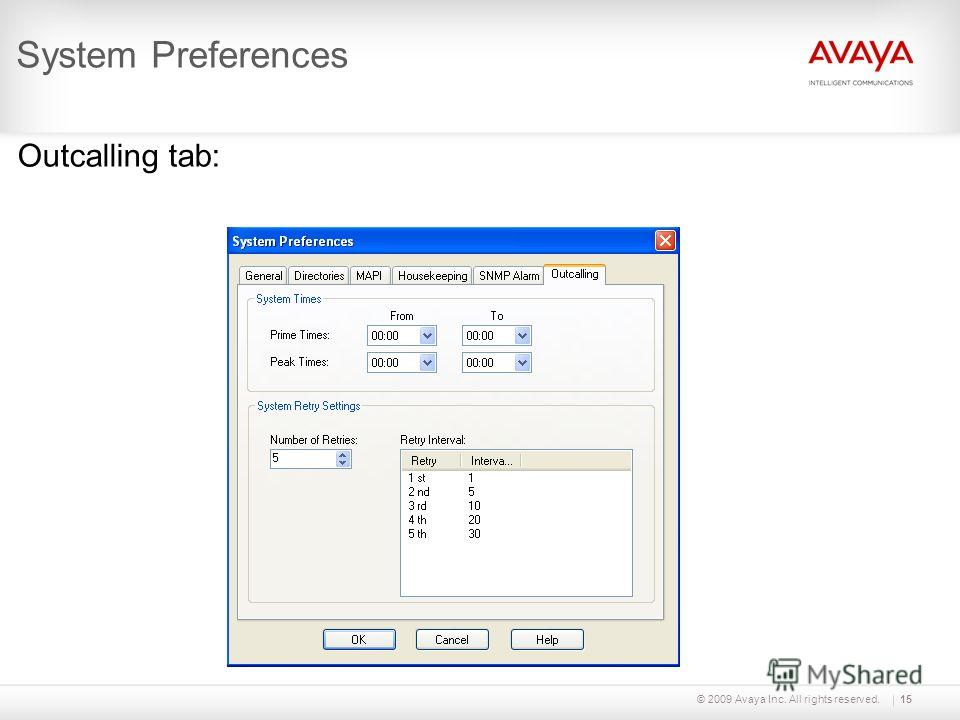 © 2009 Avaya Inc. All rights reserved.15 System Preferences Outcalling tab: