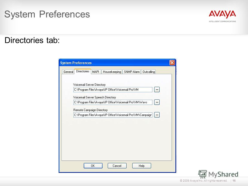 © 2009 Avaya Inc. All rights reserved.16 System Preferences Directories tab: