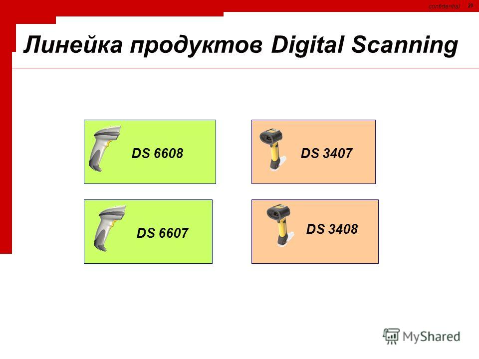 confidential 20 DS 6608 DS 6607 DS 3407 DS 3408 Линейка продуктов Digital Scanning
