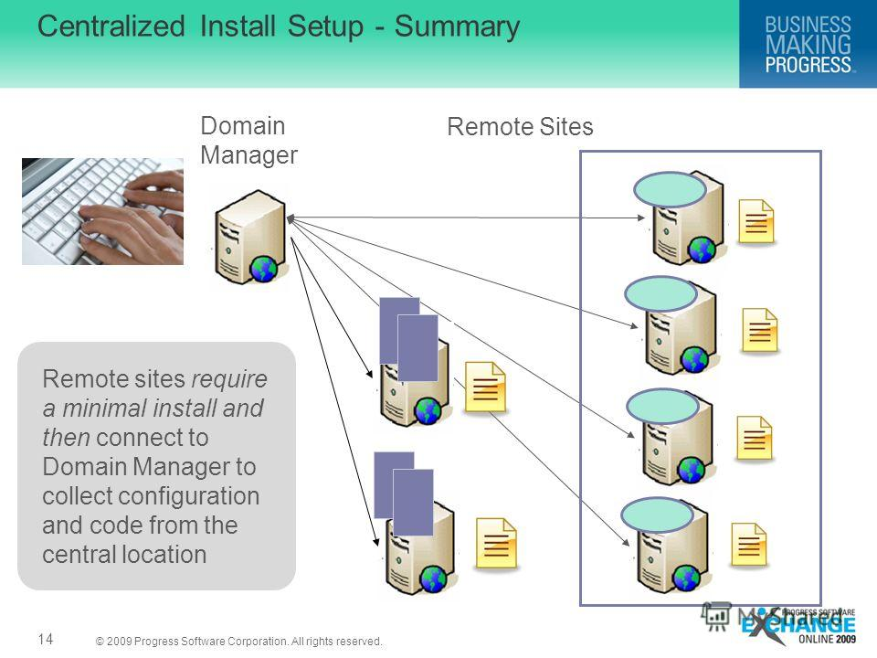 © 2009 Progress Software Corporation. All rights reserved. Centralized Install Setup - Summary Domain Manager Remote Sites Remote sites require a minimal install and then connect to Domain Manager to collect configuration and code from the central lo