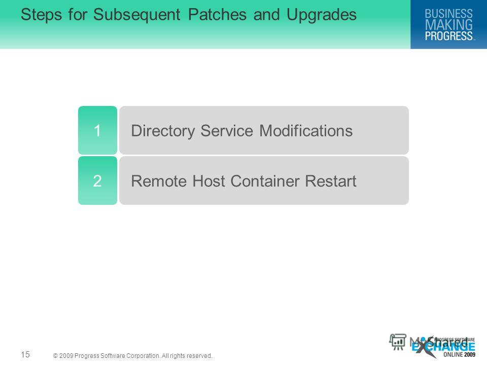 © 2009 Progress Software Corporation. All rights reserved. Steps for Subsequent Patches and Upgrades 15 1Directory Service Modifications Remote Host Container Restart2