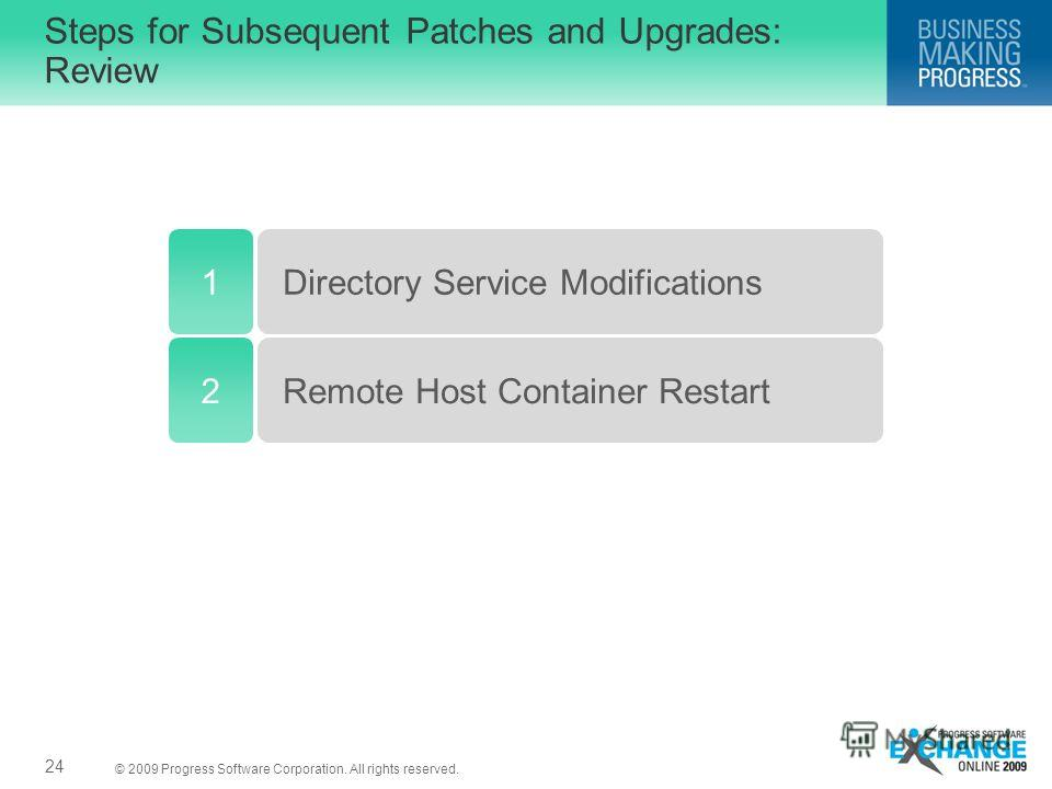 © 2009 Progress Software Corporation. All rights reserved. Steps for Subsequent Patches and Upgrades: Review 24 1Directory Service Modifications Remote Host Container Restart2