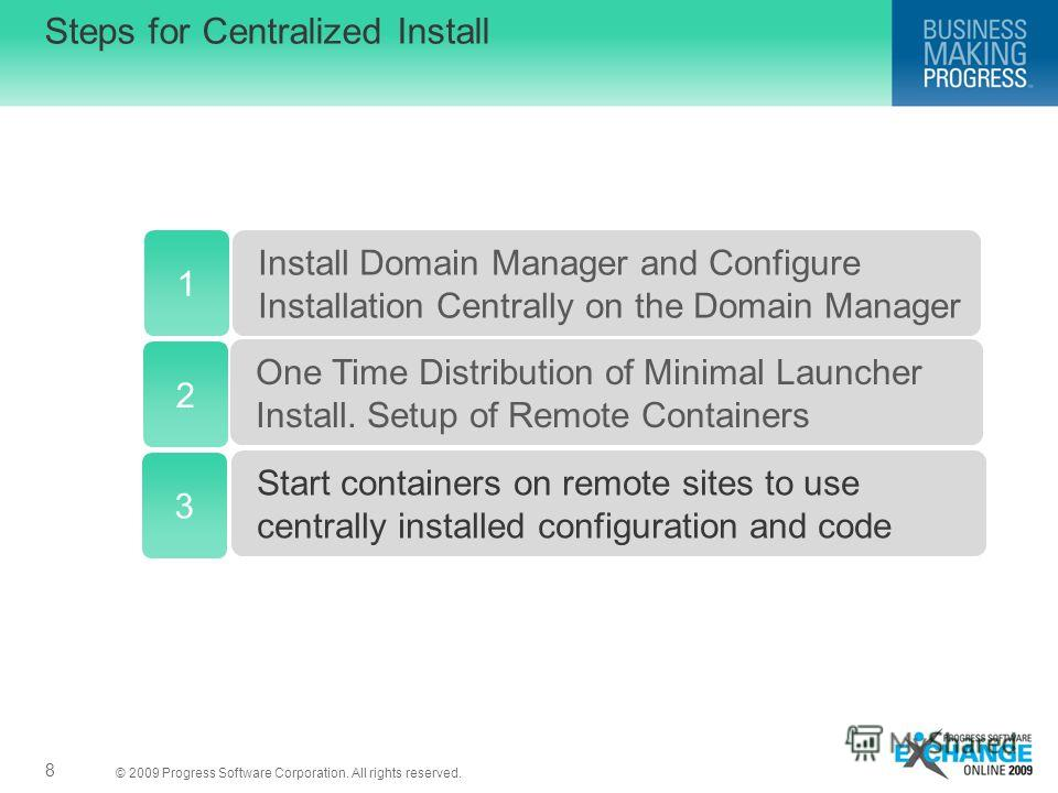 © 2009 Progress Software Corporation. All rights reserved. 8 Steps for Centralized Install 1 Install Domain Manager and Configure Installation Centrally on the Domain Manager One Time Distribution of Minimal Launcher Install. Setup of Remote Containe