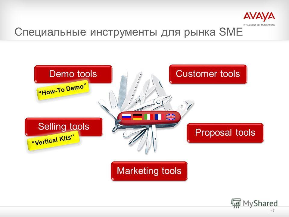 Marketing tools Специальные инструменты для рынка SME 17 Proposal tools Customer tools Demo tools Selling tools How-To Demo Vertical Kits