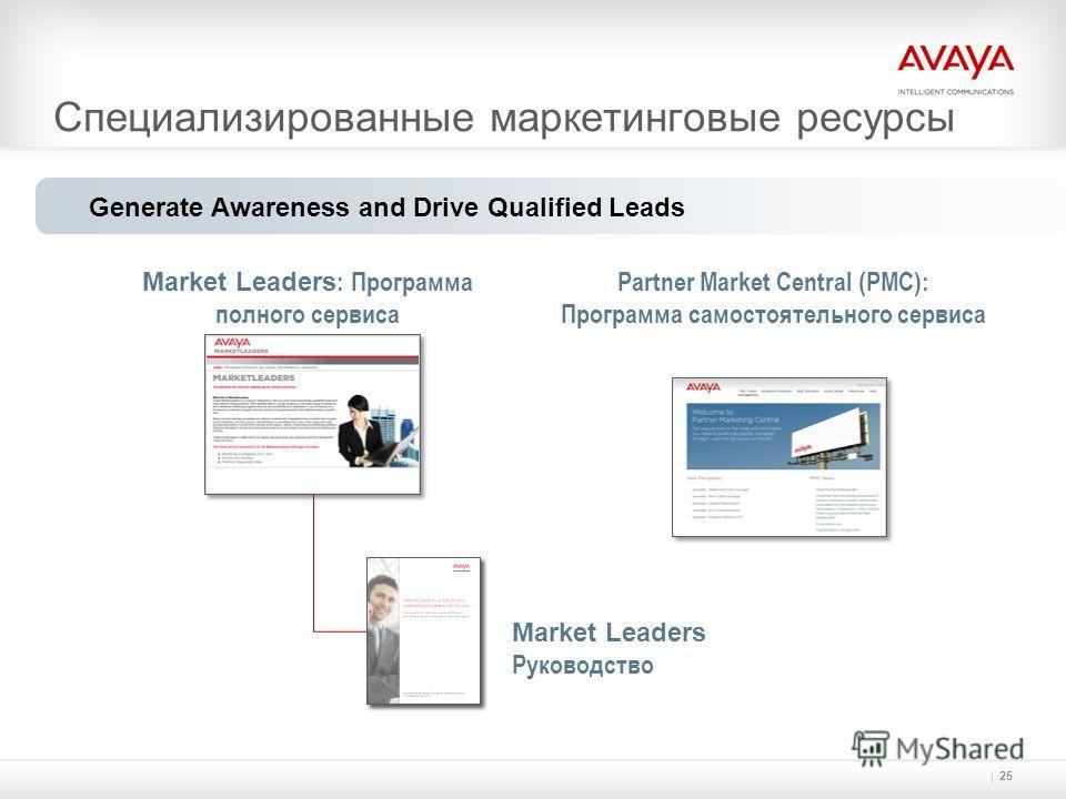 Специализированные маркетинговые ресурсы 25 Generate Awareness and Drive Qualified Leads Market Leaders : Программа полного сервиса Partner Market Central (PMC): Программа самостоятельного сервиса Market Leaders Руководство