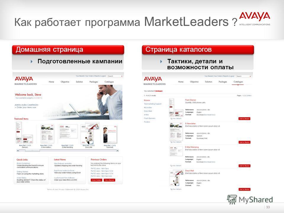 33 Как работает программа MarketLeaders ? Домашняя страница Подготовленные кампании Страница каталогов Тактики, детали и возможности оплаты
