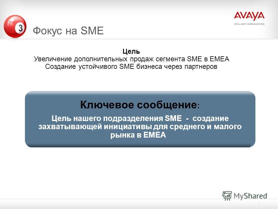 Фокус на SME Ключевое сообщение : Цель нашего подразделения SME - создание захватывающей инициативы для среднего и малого рынка в EMEA Цель Увеличение дополнительных продаж сегмента SME в EMEA Создание устойчивого SME бизнеса через партнеров