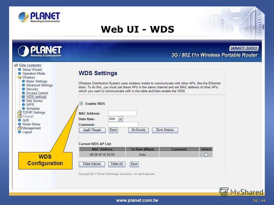 34 / 44 Web UI - WDS WDS Configuration