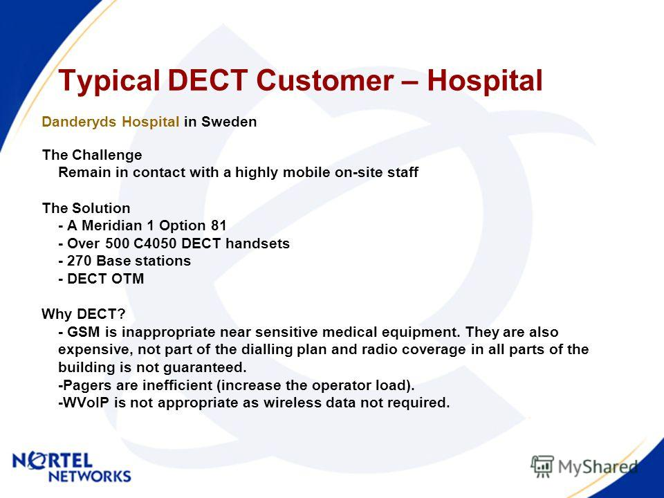 Typical DECT Customer – Hospital Danderyds Hospital in Sweden The Challenge Remain in contact with a highly mobile on-site staff The Solution - A Meridian 1 Option 81 - Over 500 C4050 DECT handsets - 270 Base stations - DECT OTM Why DECT? - GSM is in