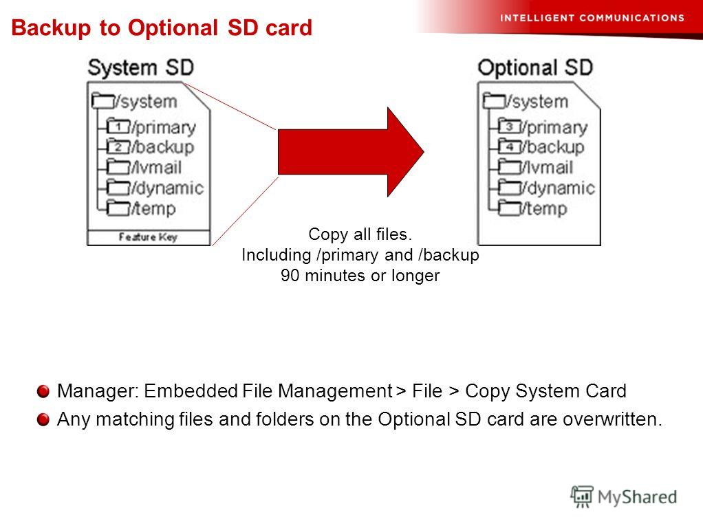 Manager: Embedded File Management > File > Copy System Card Any matching files and folders on the Optional SD card are overwritten. Backup to Optional SD card Copy all files. Including /primary and /backup 90 minutes or longer