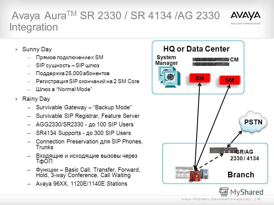 Avaya – Proprietary. Use pursuant to Avaya policy.16 Avaya Aura TM SR 2330 / SR 4134 /AG 2330 Integration Sunny Day – Прямое подключение к SM – SIP сущность – SIP шлюз – Поддержка 25,000 абонентов – Регистрация SIP окончаний на 2 SM Core – Шлюз в Nor