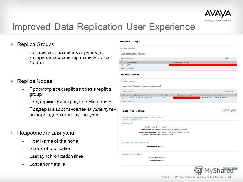 Avaya – Proprietary. Use pursuant to Avaya policy. Improved Data Replication User Experience Replica Groups – Показывает различные группы, в которых классифицированы Replica Nodes Replica Nodes – Просмотр всех replica nodes в replica group – Поддержк