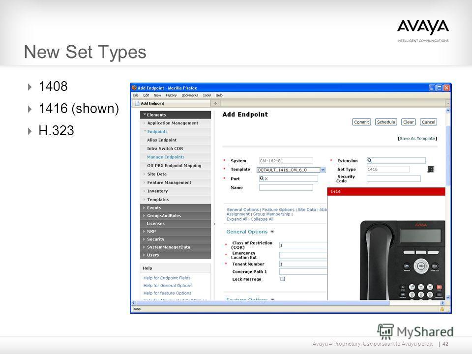 Avaya – Proprietary. Use pursuant to Avaya policy. New Set Types 1408 1416 (shown) H.323 42