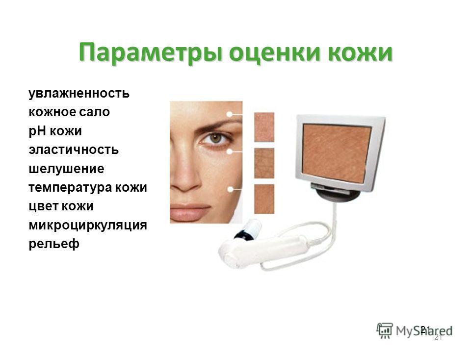 Параметры оценки кожи увлажненность кожное сало рН кожи эластичность шелушение температура кожи цвет кожи микроциркуляция рельеф 21