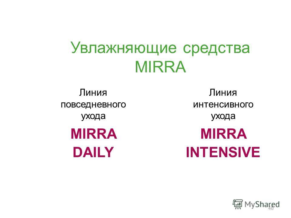 48 Линия повседневного ухода MIRRA DAILY Линия интенсивного ухода MIRRA INTENSIVE Увлажняющие средства MIRRA