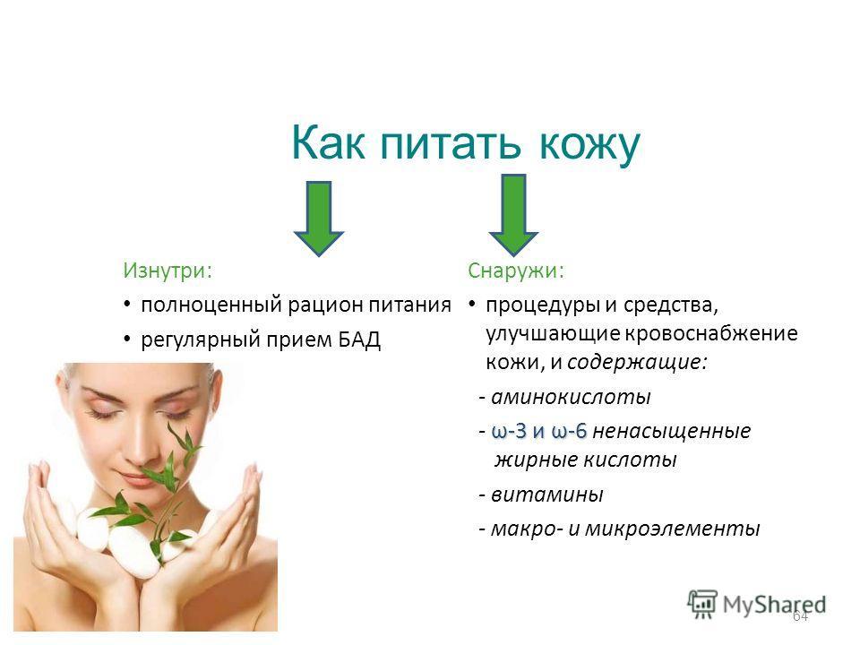 Изнутри: полноценный рацион питания регулярный прием БАД Снаружи: процедуры и средства, улучшающие кровоснабжение кожи, и содержащие: - аминокислоты ω-3 и ω-6 - ω-3 и ω-6 ненасыщенные жирные кислоты - витамины - макро- и микроэлементы 64 Как питать к