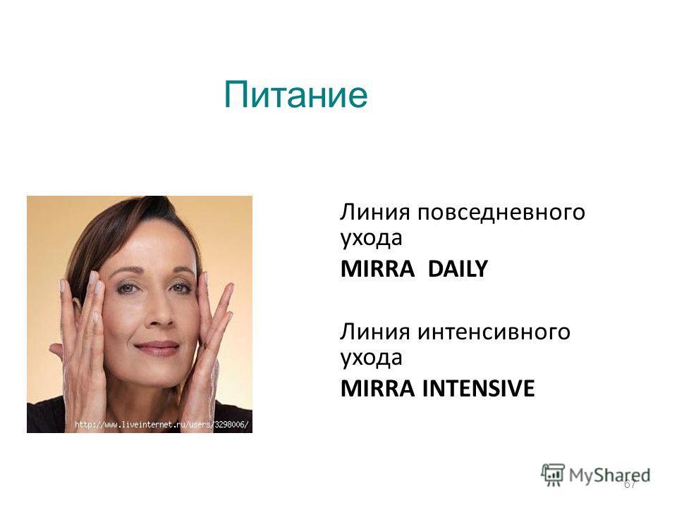 Линия повседневного ухода MIRRA DAILY Линия интенсивного ухода MIRRA INTENSIVE 67 Питание