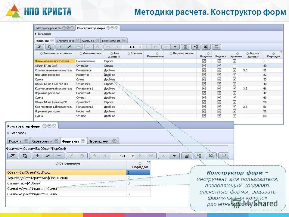 Конструктор форм – инструмент для пользователя, позволяющий создавать расчетные формы, задавать формулы для колонок расчетных форм и т.д. Методики расчета. Конструктор форм