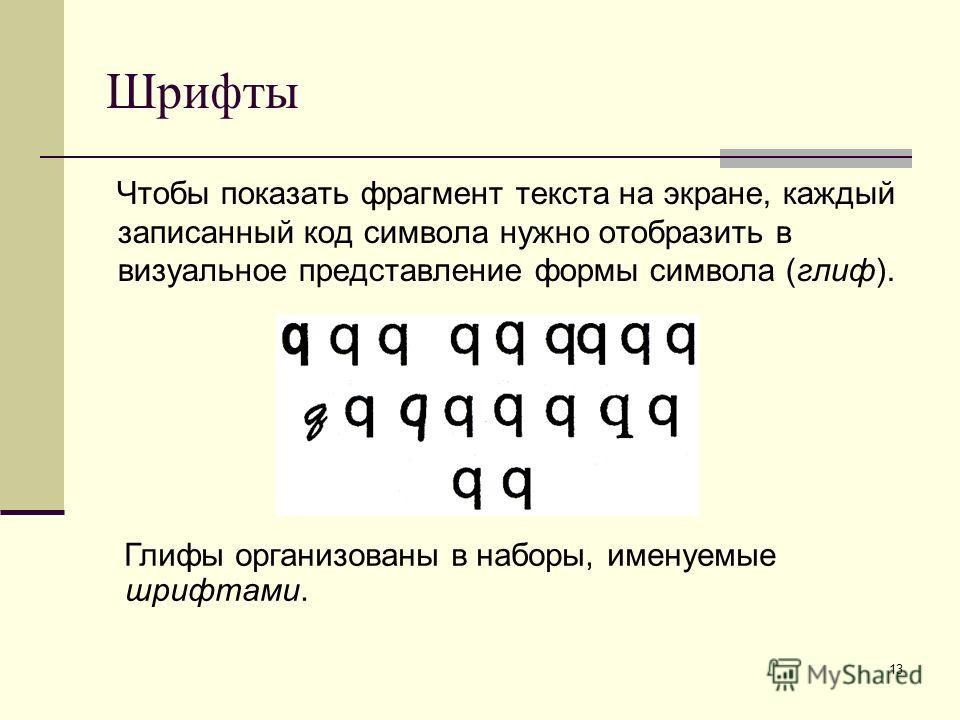 13 Шрифты Чтобы показать фрагмент текста на экране, каждый записанный код символа нужно отобразить в визуальное представление формы символа (глиф). Глифы организованы в наборы, именуемые шрифтами.