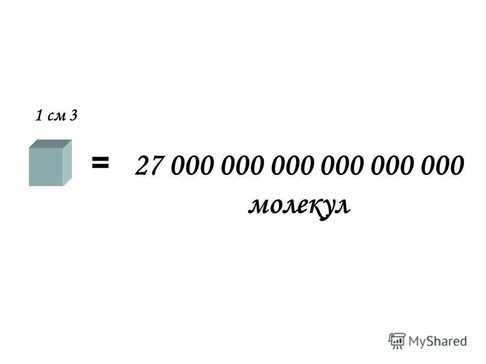 1 см 3 = 27 000 000 000 000 000 000 молекул