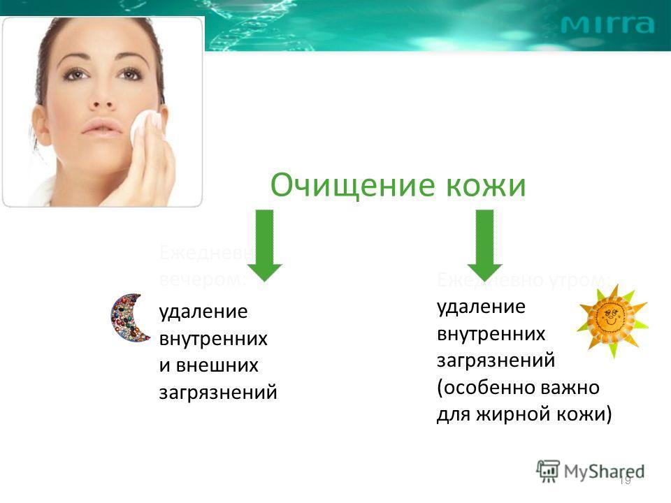 Очищение кожи Ежедневно вечером: удаление внутренних и внешних загрязнений Ежедневно утром: удаление внутренних загрязнений (особенно важно для жирной кожи) 19