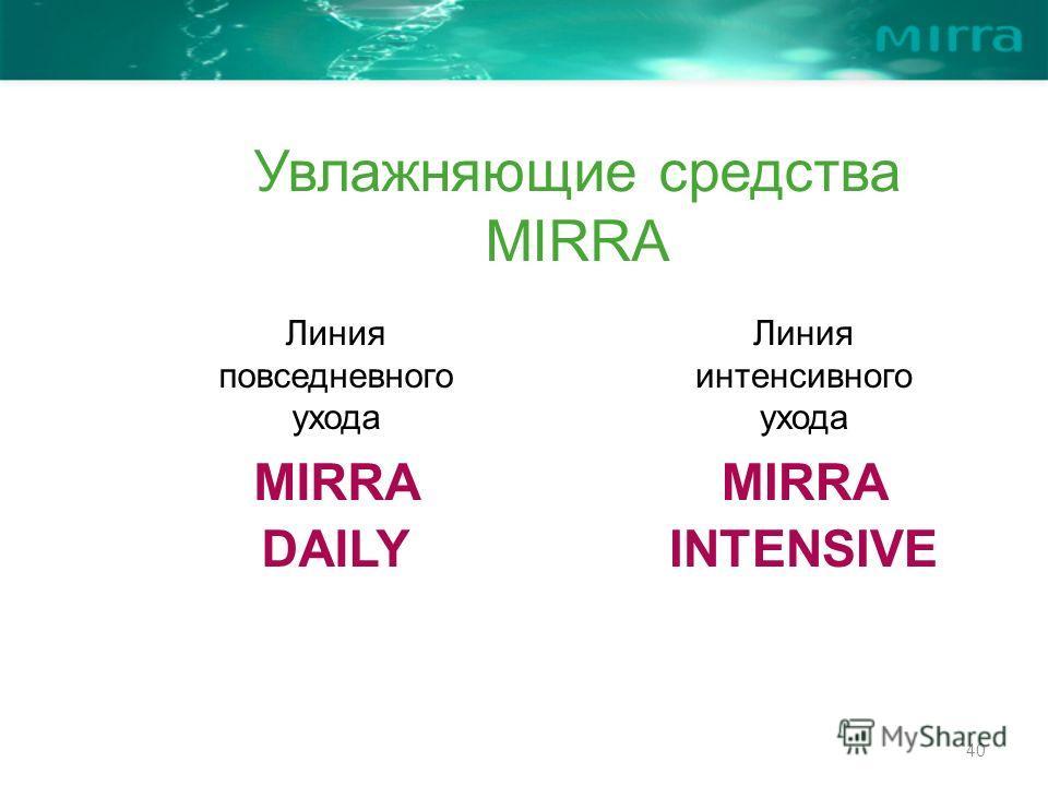 40 Линия повседневного ухода MIRRA DAILY Линия интенсивного ухода MIRRA INTENSIVE Увлажняющие средства MIRRA