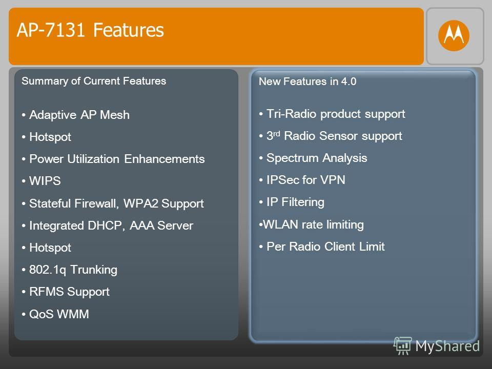 AP-7131 Features Summary of Current Features Adaptive AP Mesh Hotspot Power Utilization Enhancements WIPS Stateful Firewall, WPA2 Support Integrated DHCP, AAA Server Hotspot 802.1q Trunking RFMS Support QoS WMM New Features in 4.0 Tri-Radio product s