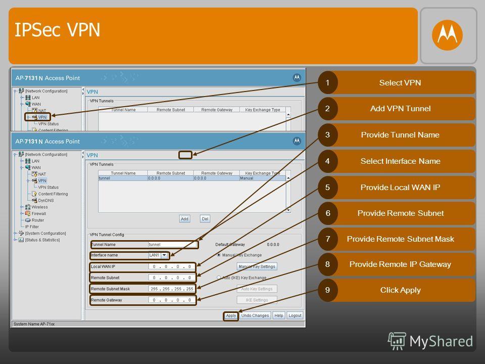IPSec VPN Select VPN1 Add VPN Tunnel2 Provide Tunnel Name3 Select Interface Name4 Provide Local WAN IP5 Provide Remote Subnet6 Provide Remote Subnet Mask7 Provide Remote IP Gateway8 Click Apply9