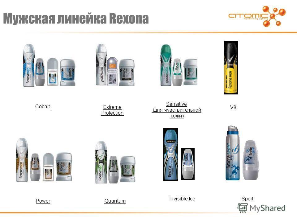 Мужская линейка Rexona Cobalt Extreme Protection Sensitive (для чувствительной кожи) V8 PowerQuantum Sport Invisible Ice