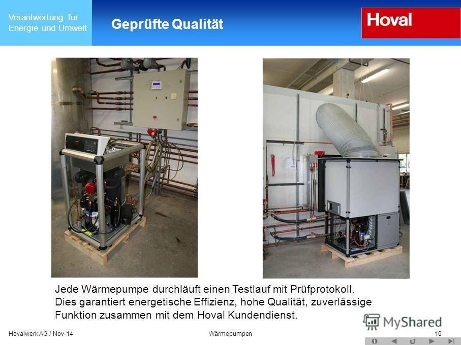 Verantwortung für Energie und Umwelt 16 Geprüfte Qualität Jede Wärmepumpe durchläuft einen Testlauf mit Prüfprotokoll. Dies garantiert energetische Effizienz, hohe Qualität, zuverlässige Funktion zusammen mit dem Hoval Kundendienst. Hovalwerk AG / No