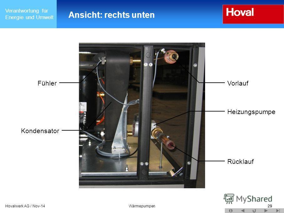 Verantwortung für Energie und Umwelt 29Hovalwerk AG / Nov-14Wärmepumpen29 Ansicht: rechts unten Kondensator Fühler Vorlauf Heizungspumpe Rücklauf