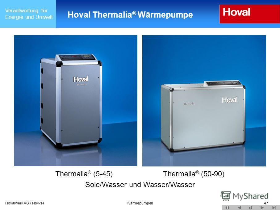 Verantwortung für Energie und Umwelt 47Hovalwerk AG / Nov-14Wärmepumpen47 Hoval Thermalia ® Wärmepumpe Thermalia ® (5-45) Thermalia ® (50-90) Sole/Wasser und Wasser/Wasser