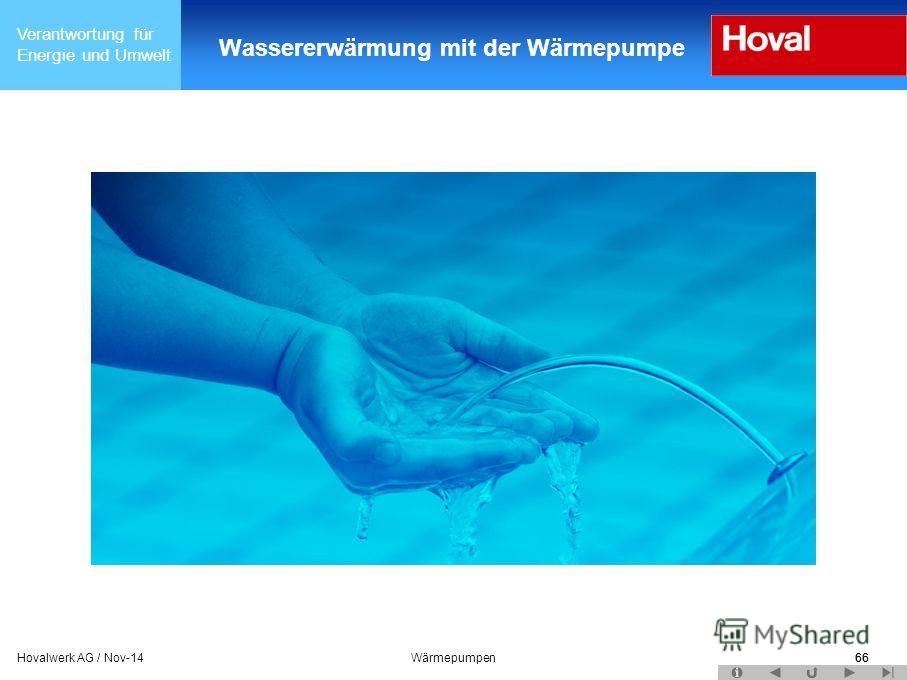 Verantwortung für Energie und Umwelt 66Hovalwerk AG / Nov-14Wärmepumpen66 Wassererwärmung mit der Wärmepumpe
