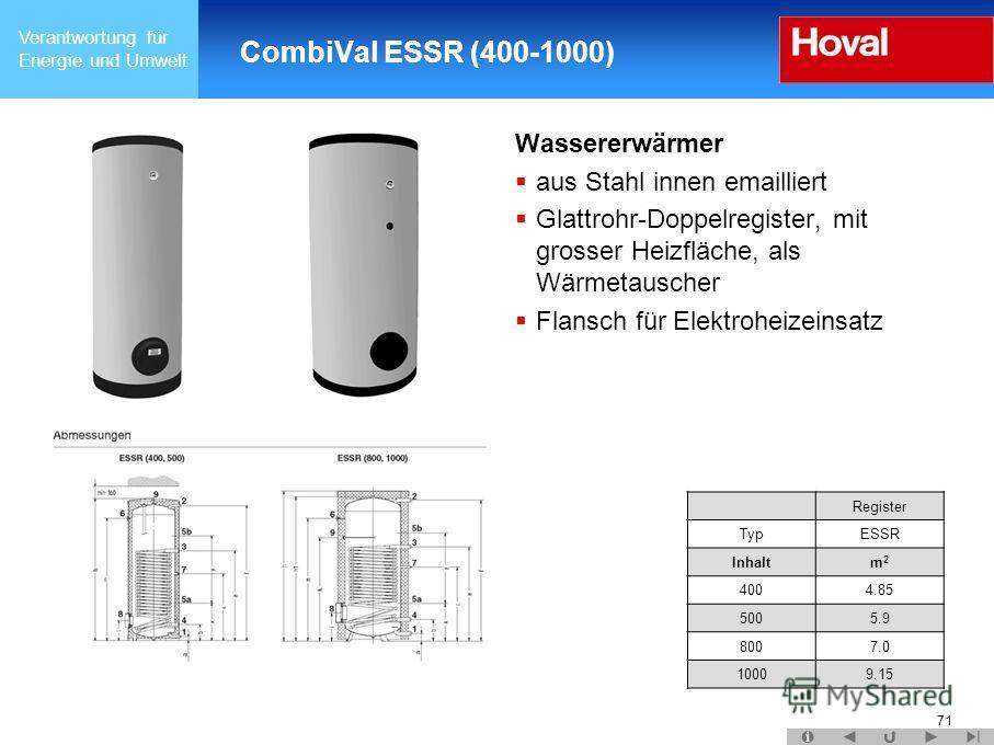 Verantwortung für Energie und Umwelt 71 CombiVal ESSR (400-1000) Wassererwärmer aus Stahl innen emailliert Glattrohr-Doppelregister, mit grosser Heizfläche, als Wärmetauscher Flansch für Elektroheizeinsatz Register TypESSR Inhaltm2m2 4004.85 5005.9 8
